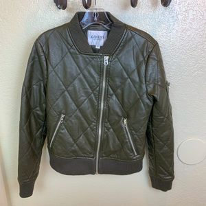 Guess Faux Leather Olive Green Bomber Jacket